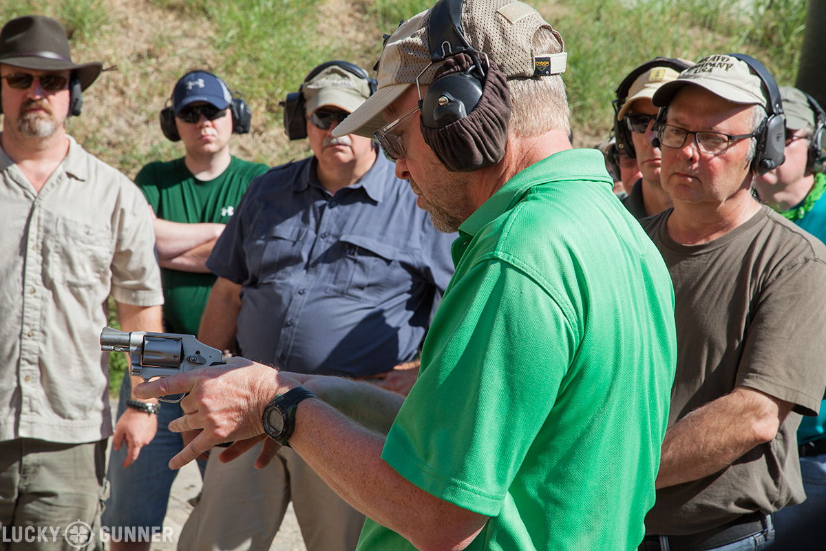 Claude Werner showing a grip technique for snub-nose revolvers.