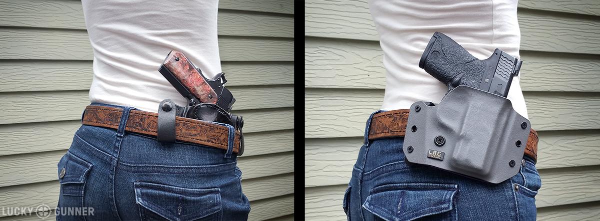 Right: Inside the waistband belt bolster. Left: Outside the waistband belt holster