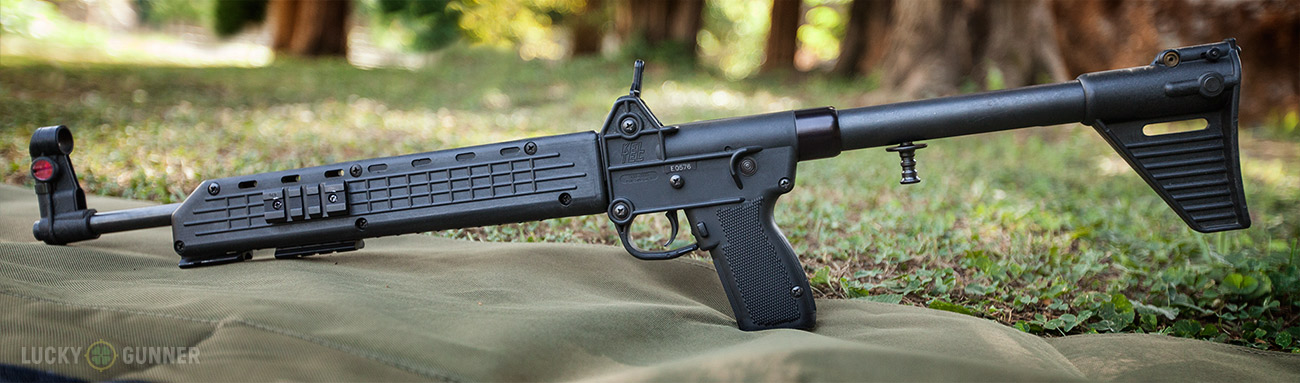 The owner of this Kel-Tec Sub-2000 added accessory rails to the sides and bottom of the foreend.
