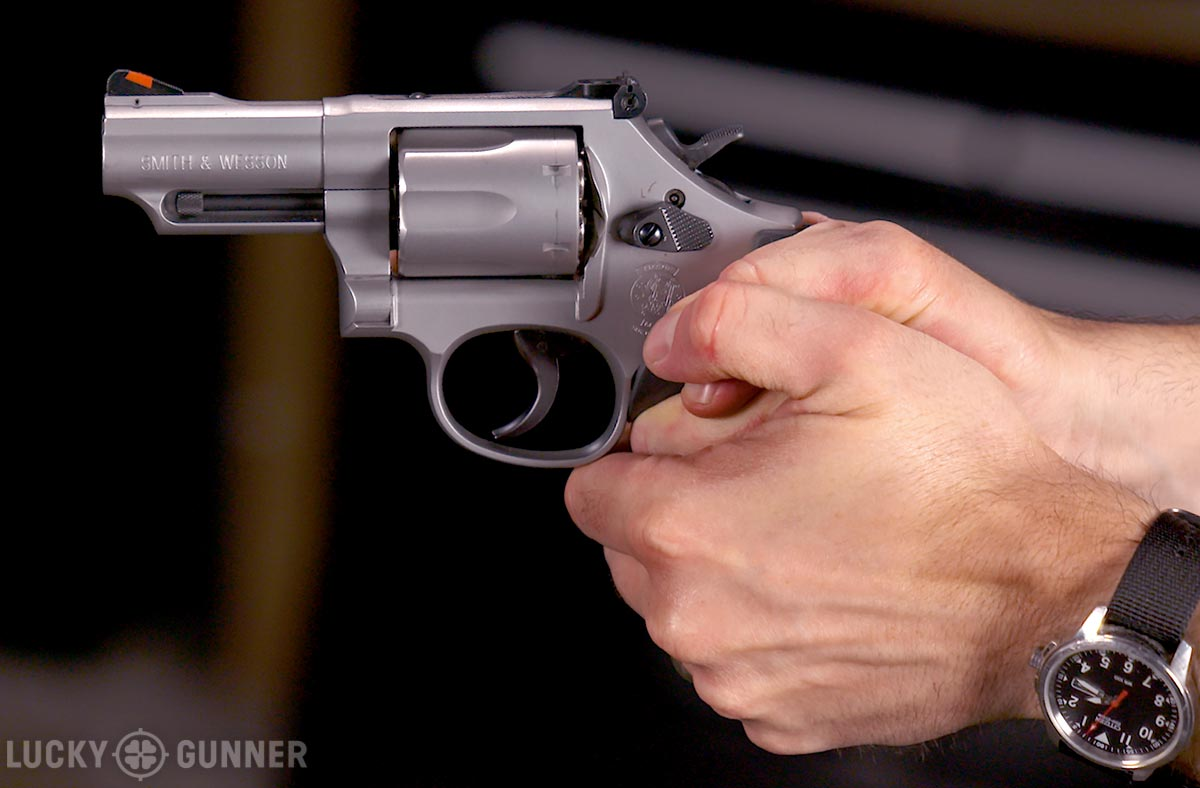 two-handed revolver grip
