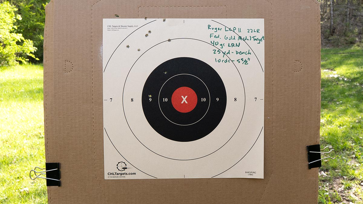 Testing the accuracy of the Ruger LCP II pistol with a target