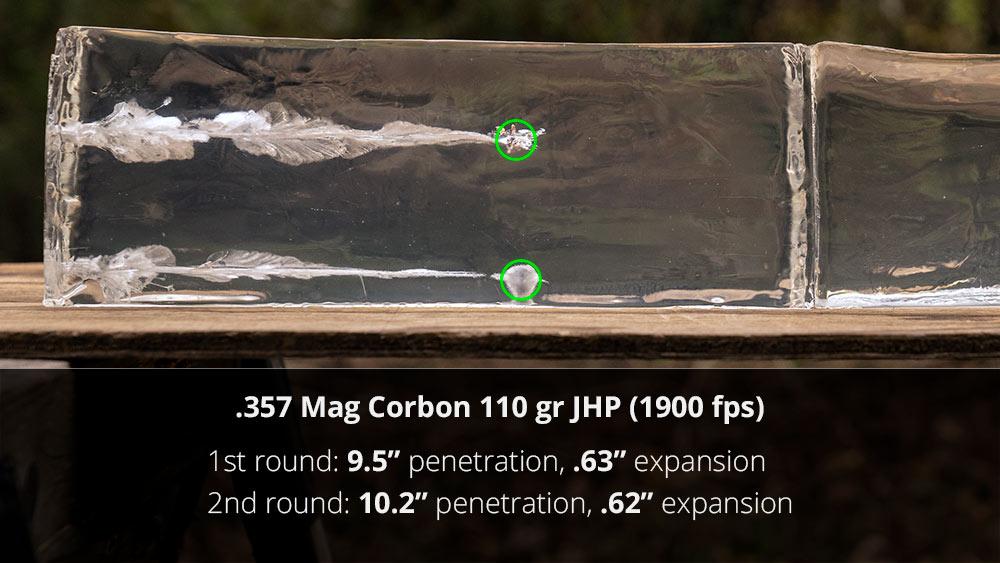 Corbon 357 mag ammo gel testing