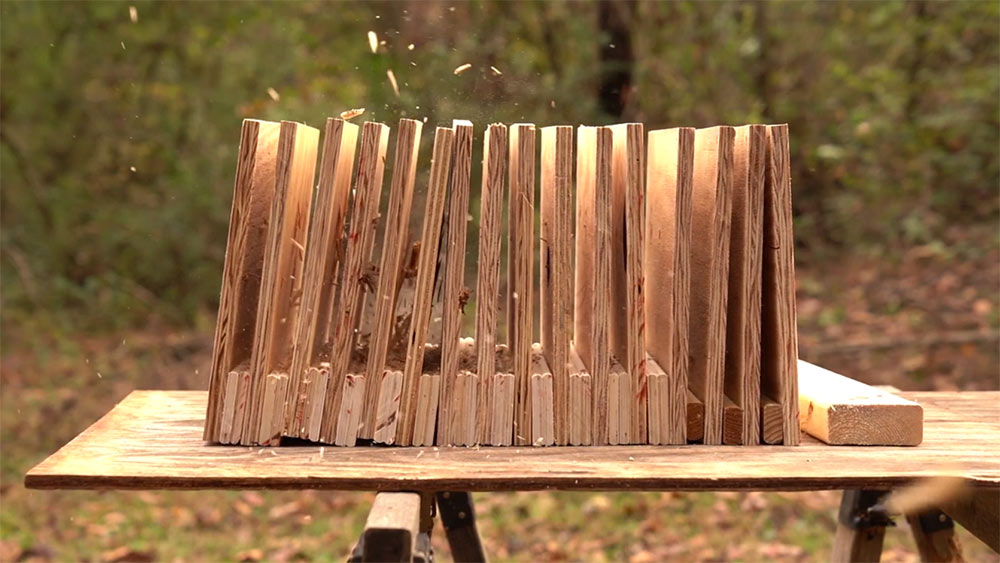 Shooting 45 ACP through wooden barriers to compare to 30 carbine ammo