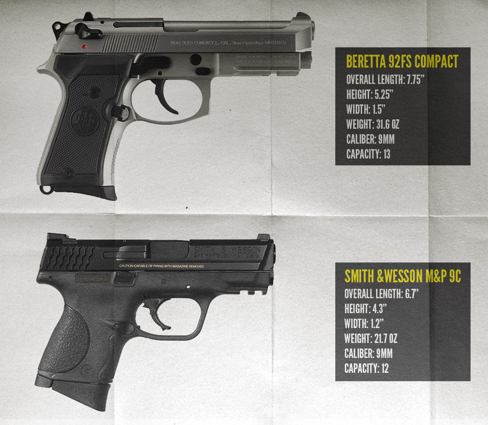 Beretta 92FS Compact vs M&P 9c