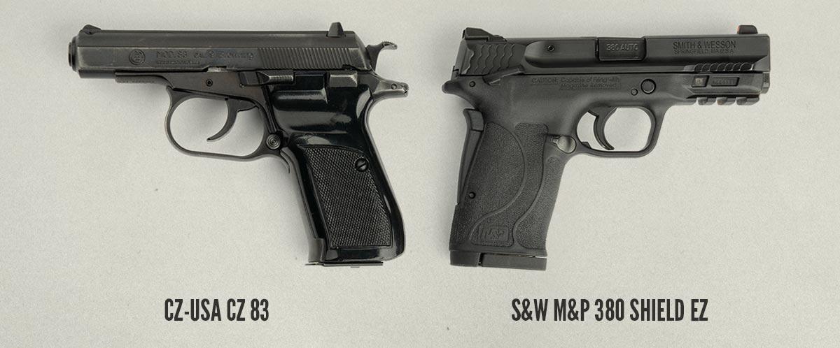 pistol size comparison of the CZ 83 and S&W M&P 380 Shield EZ Pistol