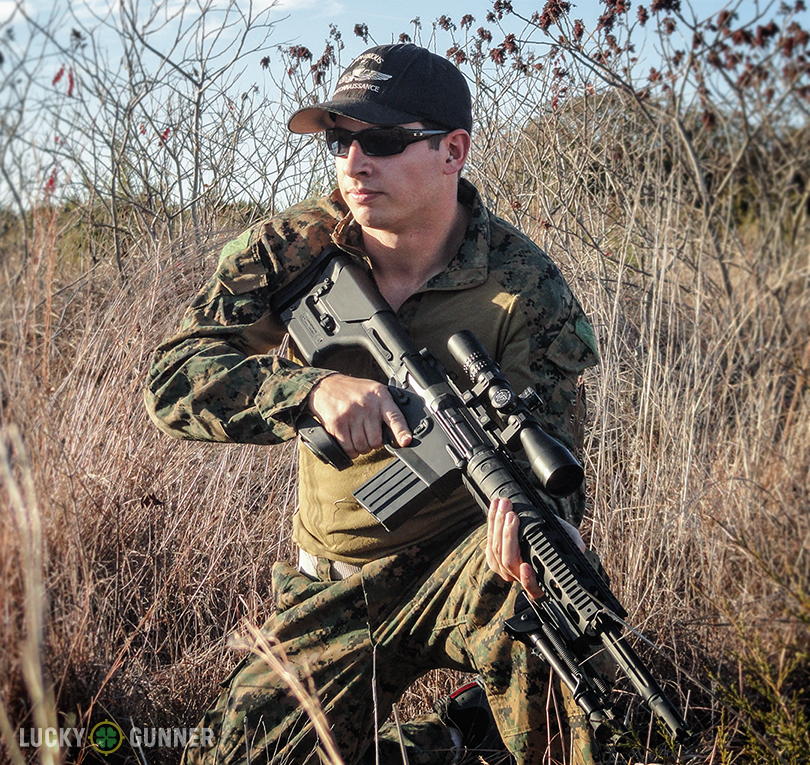 DPMS GII SASS rifle in the field with Kyle, the author of the post.