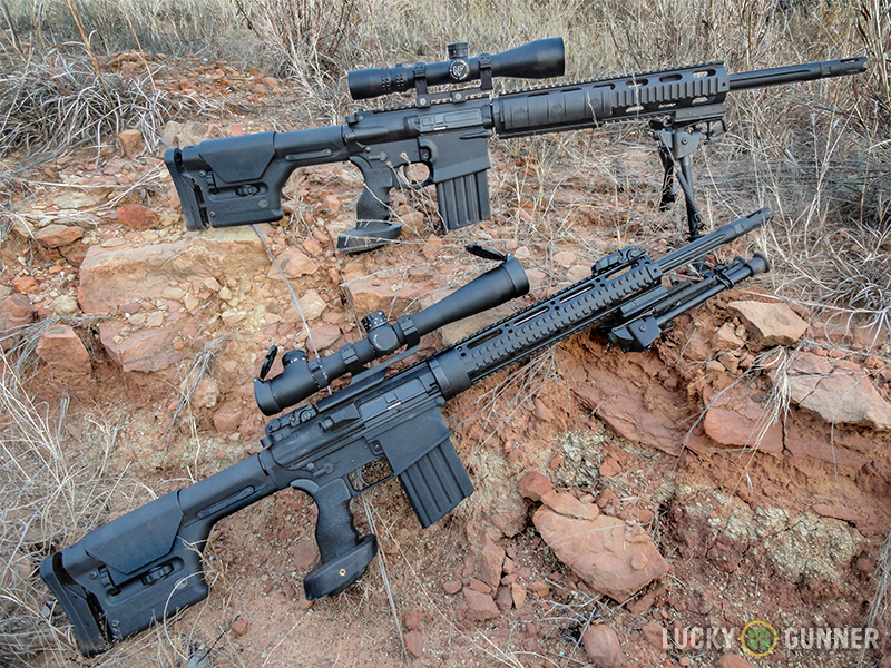 DPMS GII SASS vs Gen 1 SASS photographed on the ground.