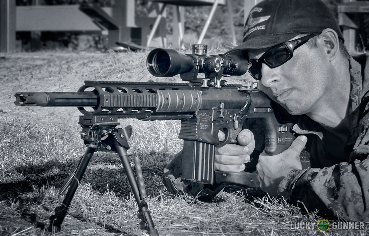 DPMS GII SASS rifle black and white photo