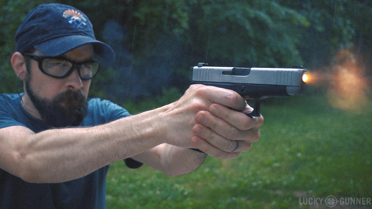 Chris Baker shooting Glock 48 muzzle flash
