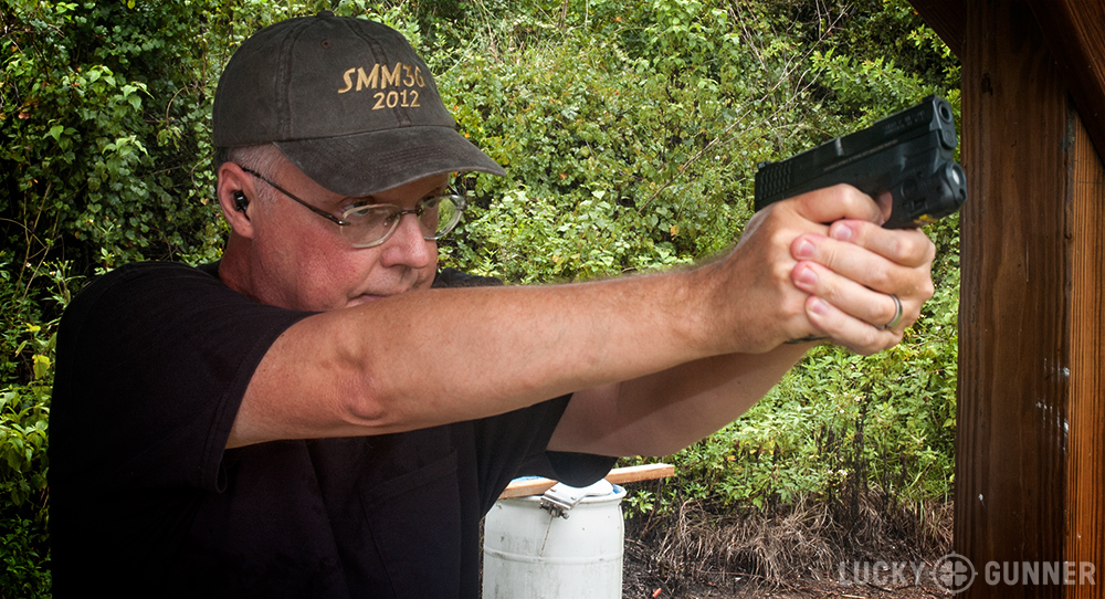 Kevin Creighton firing the M&P Shield