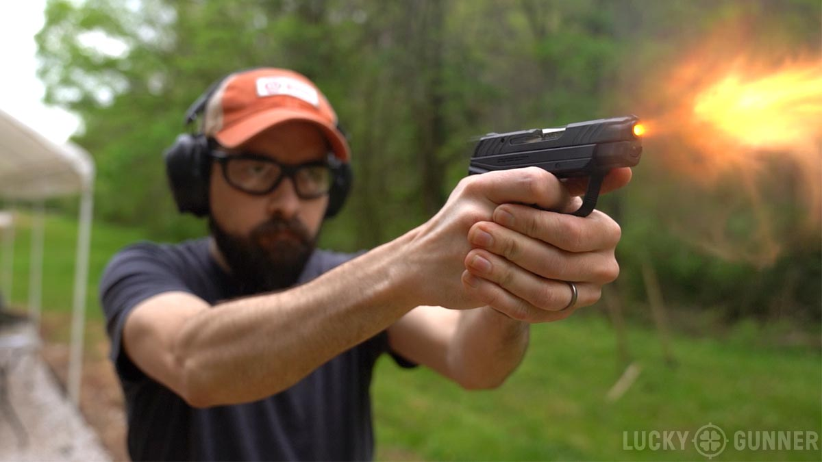 The author shooting the Ruger LCP II at the range