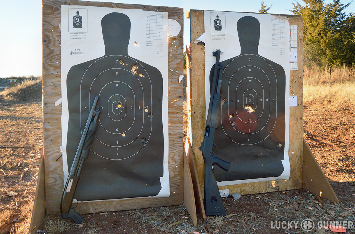 shotgun pistol grip only accuracy comparison with targets