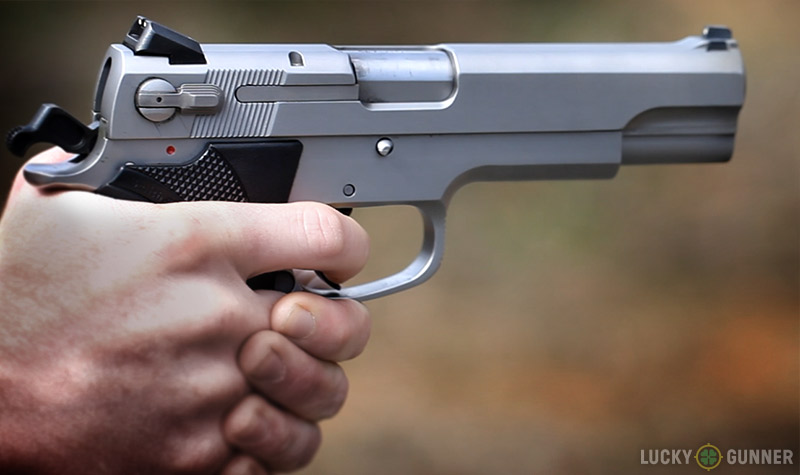 The S&W Model 4506 is large, even by .45 ACP standards, but the slim grips make it usable even for people with small hands.