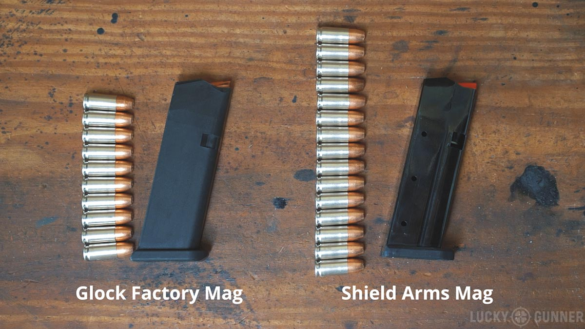 Glock 48 factory mag versus Shield Arms S15