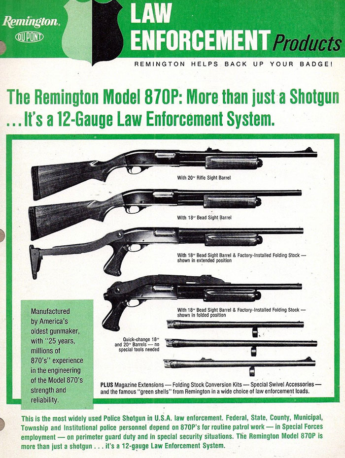 A Remington 870 advertisement from the 1970s