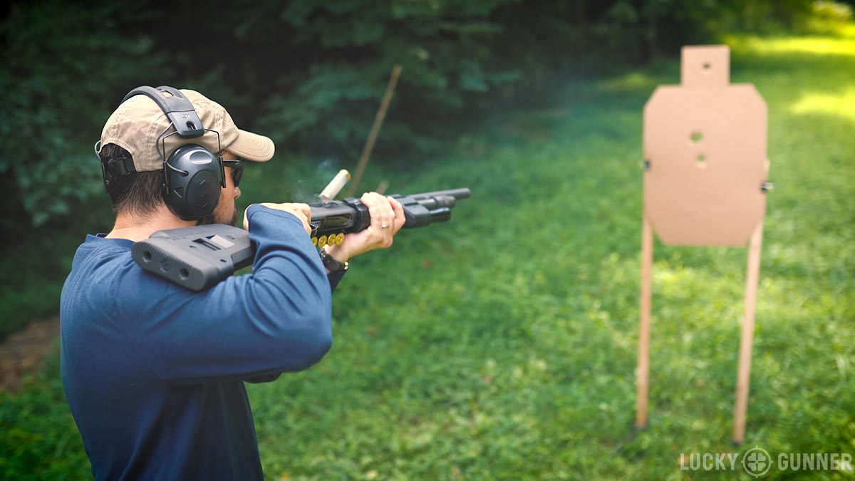 the author demonstrating Close Quarters Shotgun Technique