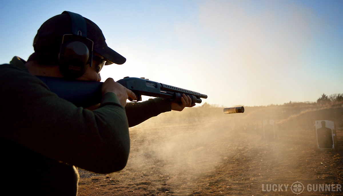 Kyle shooting Mossberg 500 with a traditional stock