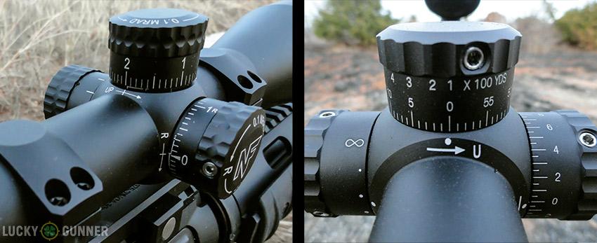 Left: Nightforce turret adjustments, Right: Leupold turret