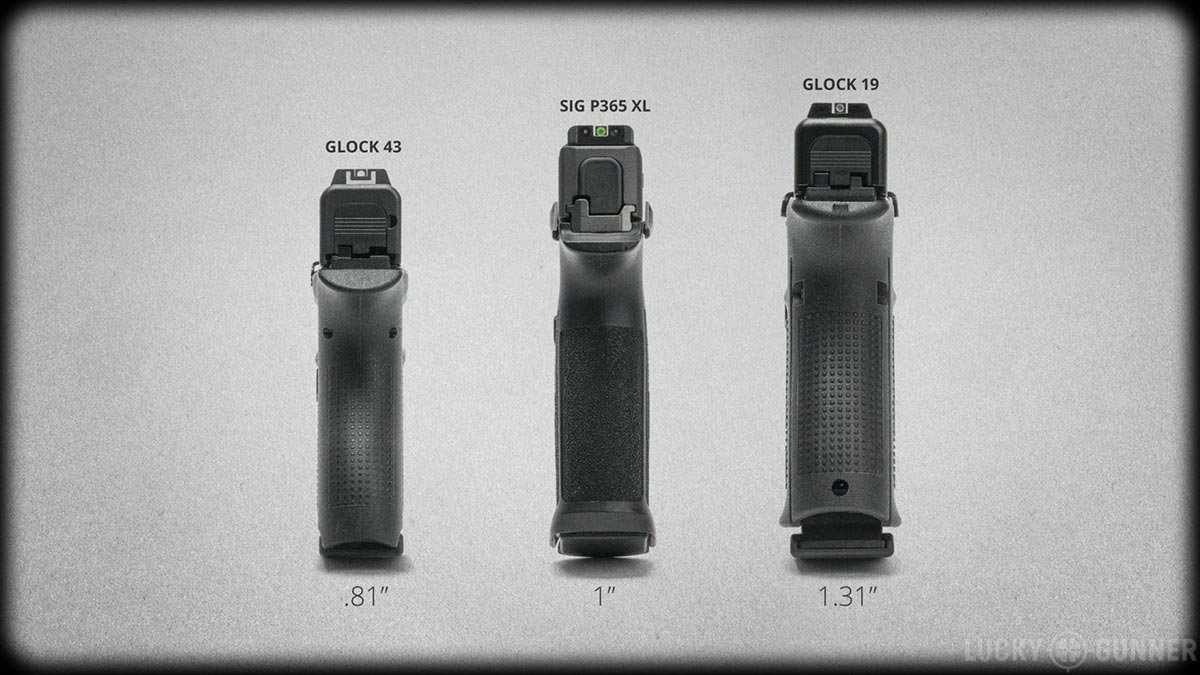 Glock 43, Sig P365 XL, and Glock 19 width comparison
