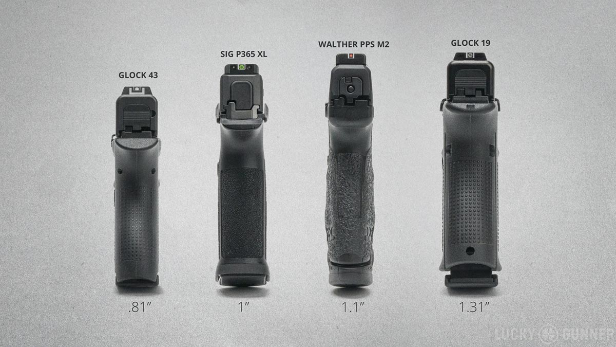 Glock 43, Walther PPS M2, Sig P365 XL, and Glock 19 width comparison
