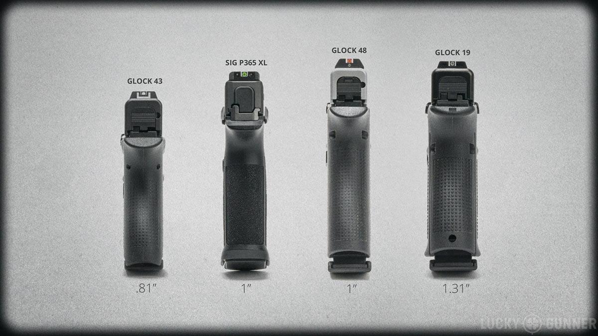 Glock 43, Sig P365XL, Glock 48, and Glock 19 width